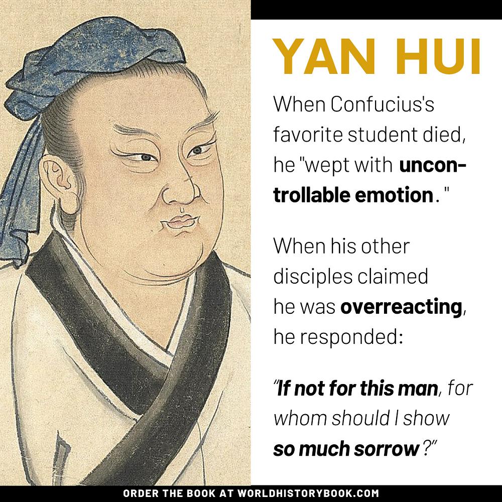 Confucius yan hui wept uncontrollable emotion