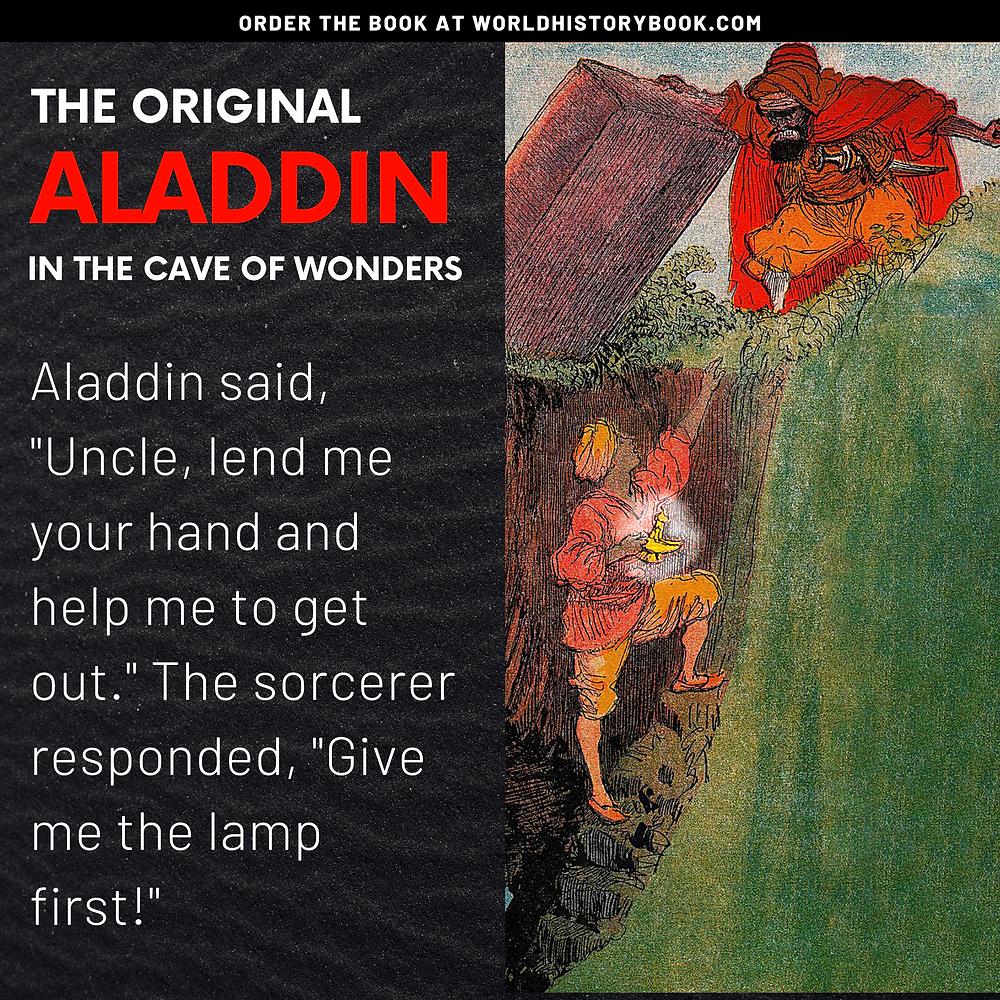 the great world history book stephan dinkgreve arabian nights one thousand and one nights aladdin original cave of wonders jafar magic lamp