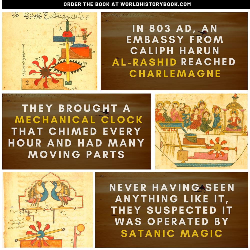 the great world history book stephan dinkgreve abbasid caliphate islamic golden age baghdad al-jazari mechanical engineer charlemagne