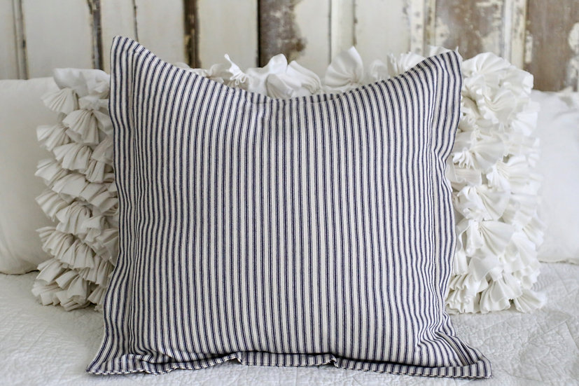 Blue Ticking Pillow Slip with Border