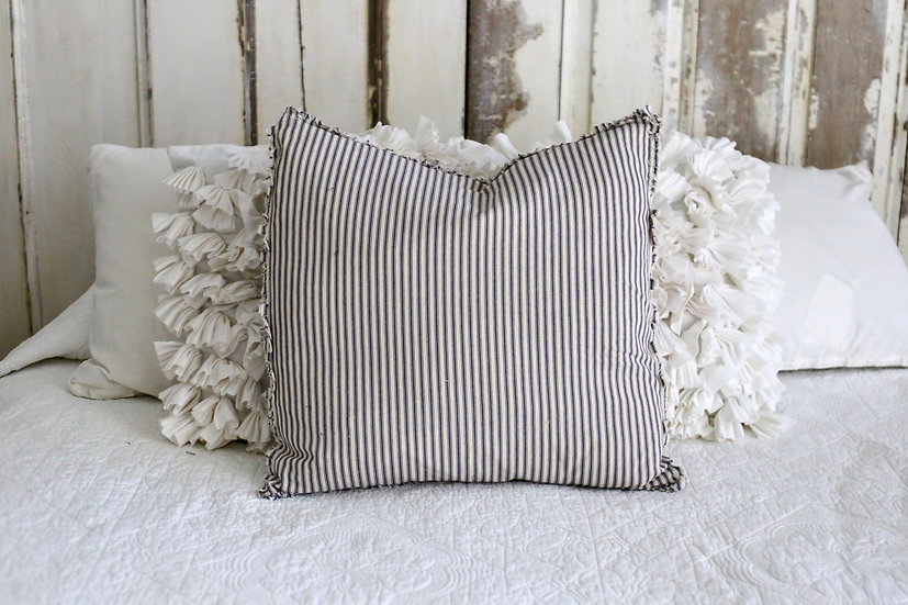 Blue Ticking Pillow Slip with Raw Edge