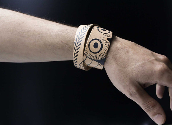 Leather Bracelet, Glaucus (Owl of Athens)