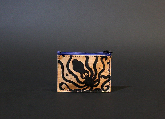 Leather credit card and coins purse, zippered pouch, unisex, Octopus