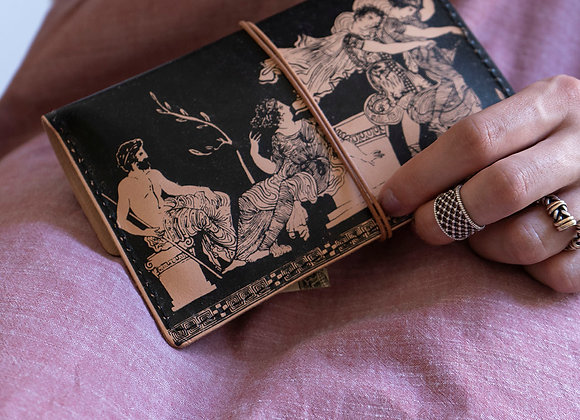 Leather pouch purse, The Abduction of the Daughters of Leucippus