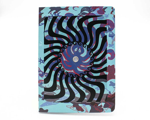 Optical Illusion Turning notebook/journal, Minoan Octopus. Interactive cover.