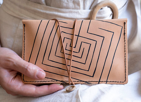 Leather pouch purse, Knossos Labyrinth