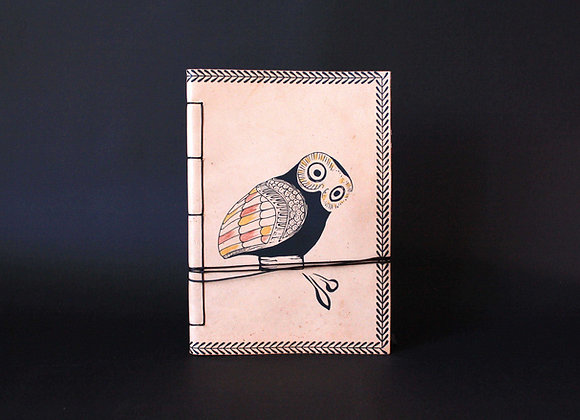 Leather Journal Notebook A5, Glaucus (Owl of Athens).