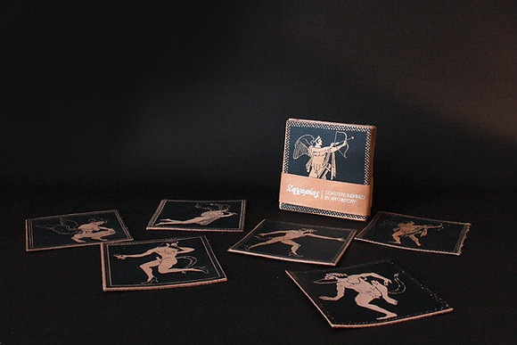 "Set 6 Leather Coasters / Handprinted, ""Eros and Satyr"""