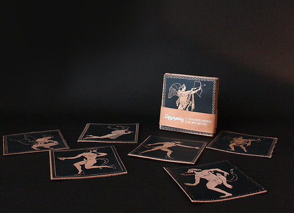 """Set 6 Leather Coasters / Handprinted, """"Eros and Satyr"""""""