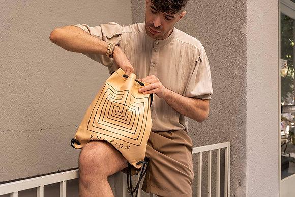 Leather Backpack / Shoulder Bag, Knossos Labyrinth
