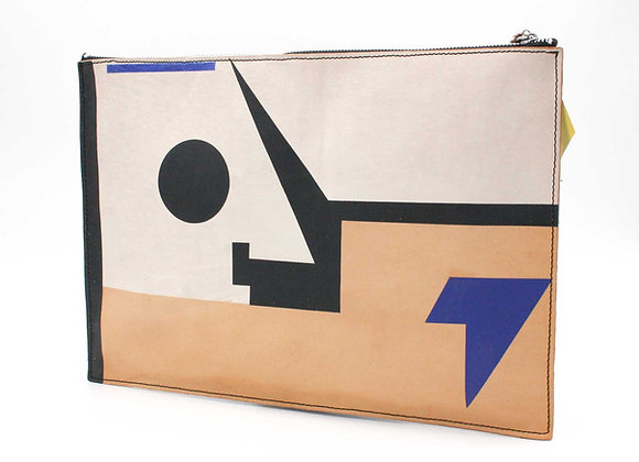 Leather clutch bag with Zipper, Frank Stella