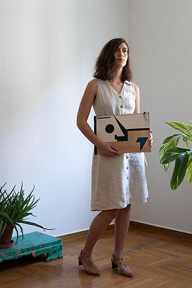 Leather clutch bag with Zipper, Frank Stella