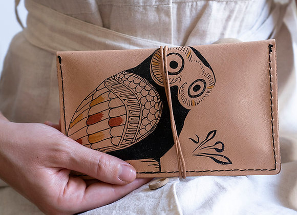 Leather pouch purse portfolio envelope. Tobacco case. Owl of Athens