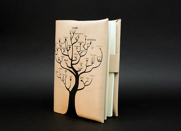 Leather Book/Journal Cover, Refillable cover. Genealogical Tree of Gods
