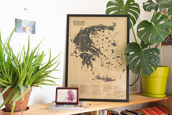 Ancient Greece Map/Illustration, Big Printed Poster, Golden