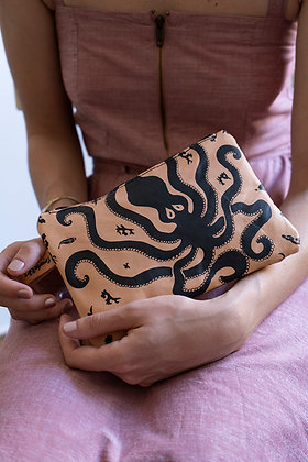 Leather Travel Pouch Purse, Octopus