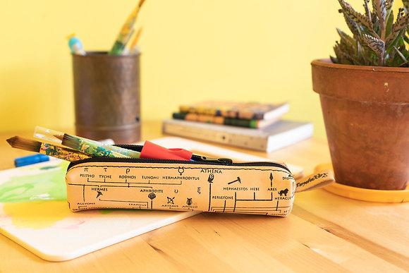 Classy leather pencil case/pen Pouch, Genealogical Tree of Gods