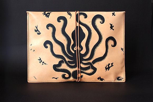 Leather Pouch Envelope Large, Large Octopus