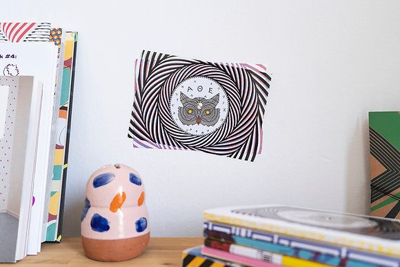 Turning postcard/wall decor, interactive Optical Illusion. Owl of Athens.