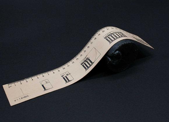 Leather Ruler/bookmark, Silkscreen printed, Golden Ratio