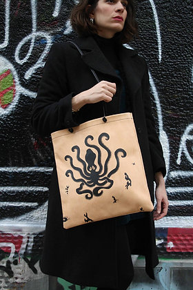 Octopus, leather tote bag