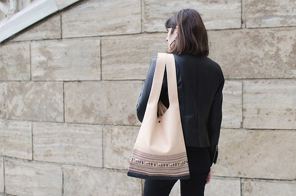 Leather Hobo bag, Geometrical Period