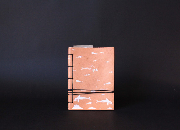 Leather Journal Notebook A6, Minoan Dolphins.