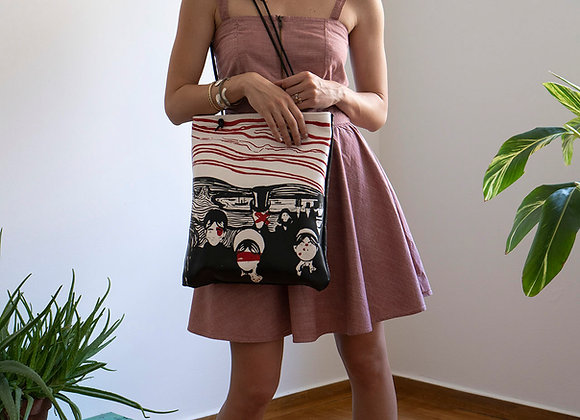 Leather Tote Bag / Shopper Bag, Munch ANGST