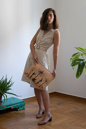 Leather clutch bag with zipper, Olive Harvest
