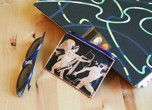 Leather credit card and coins purse, zippered pouch, unisex, Eros & Satyr
