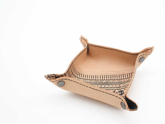 Leather Tray / Vide Poche, Small. Geometrical Period