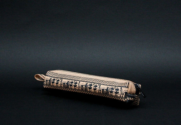 Classy leather pencil case/pen Pouch, Geometrical Period