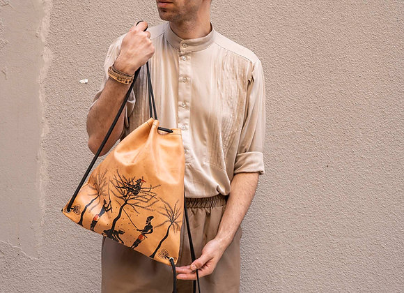 Leather Backpack / Shoulder Bag, Olive Harvest