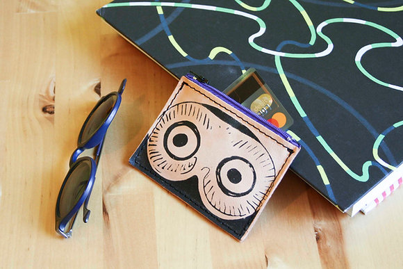 Leather credit card and coins purse, zippered, Glaucus (Owl of Athens)