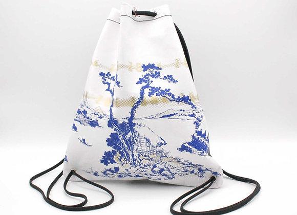 Leather Backpack / Shoulder Bag, Japanese Print