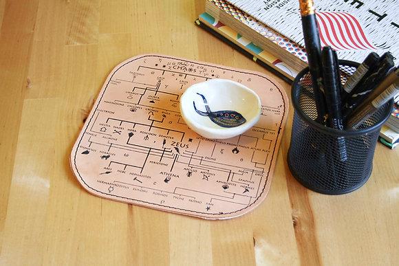Leather Mousepad/Mat, Genealogical Tree of Gods