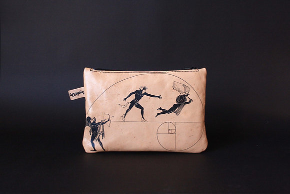 Leather Travel Pouch Purse, Eros & satyr
