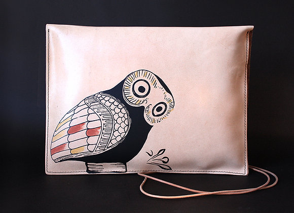Leather Pouch Envelope Large, Glaucus (Owl of Athens)