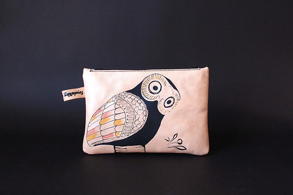 Leather Travel Pouch Purse, Glaucus (Owl of Athens)