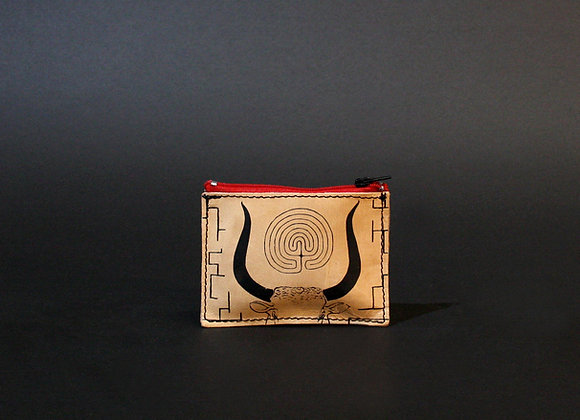 Leather credit card and coins purse, zippered pouch, unisex, The Minotaur