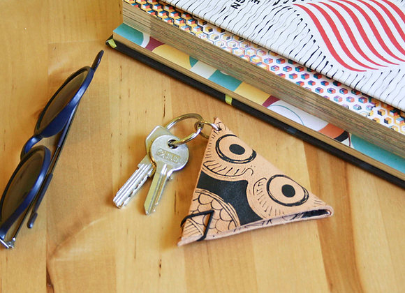 Leather Keychain Pouch, Glaucus (Owl of Athens)