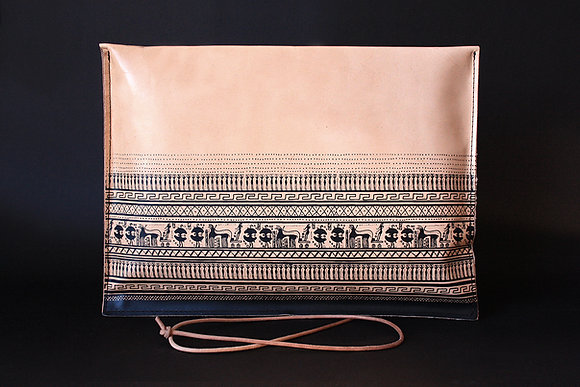 Leather Pouch Envelope Large, Geometrical Period