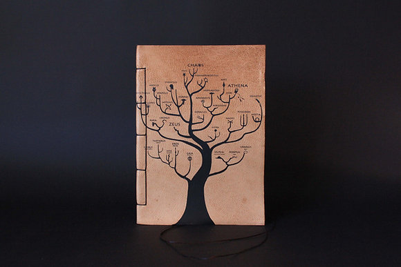 Leather Journal Notebook A5, Genealogical Tree of Gods.