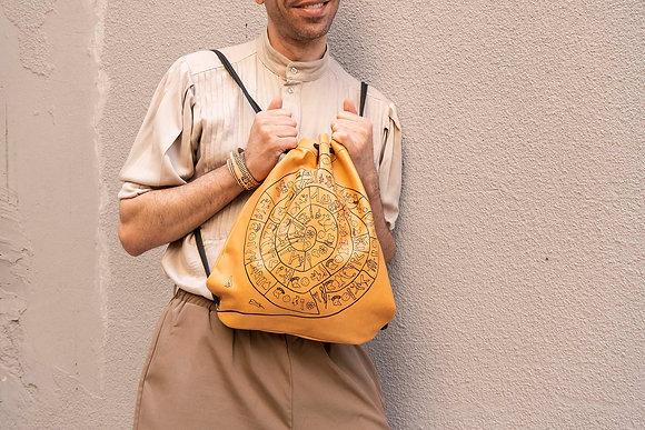 Leather Backpack / Shoulder Bag, Phaistos Disc