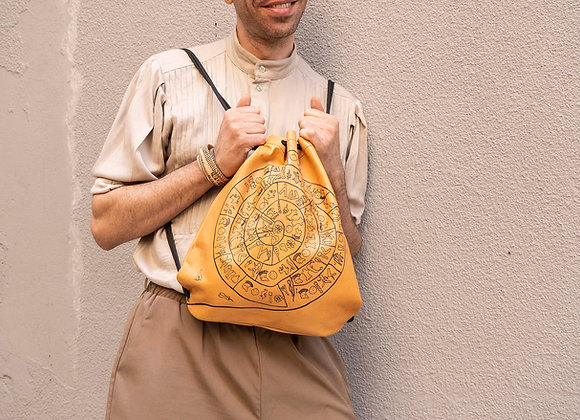 Leather Backpack / Shoulder Bag, Phaistos Disc