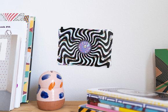 Turning postcard/wall decor, interactive Optical Illusion. Minoan Octopus.