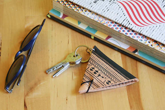 Leather Keychain Pouch, Geometrical Period