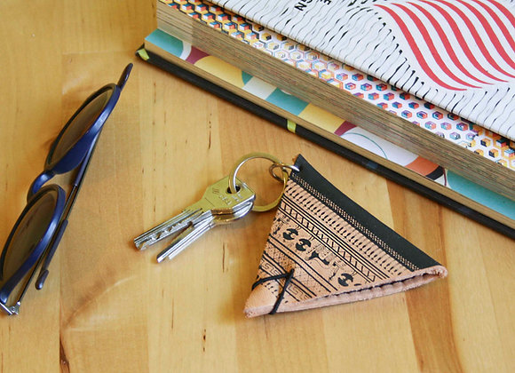 Leather Keychain Pouch, Geometrical Period