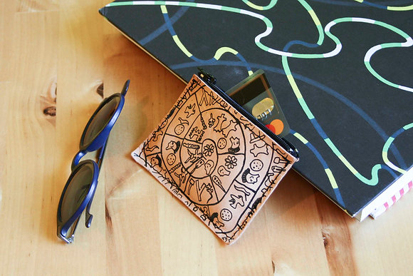 Leather credit card and coins purse, zippered pouch, unisex, Phaistos Disc