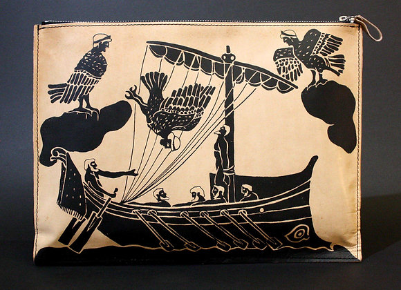 Leather clutch bag with zipper, Odysseas & the Sirens